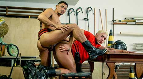Thiago is in the garage checking his gear when co-firefighter Lipe Levado comes in. They kiss, Lipe gives Thiago a blowjob. Thiago returns the favor by rimming Lipe before fucking him doggy style on the floor.